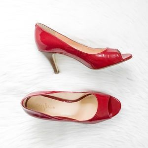 Cole Haan red peep-toe pumps